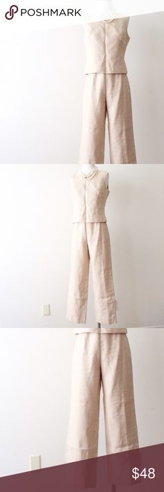 2 Piece Sleeveless Linen Set The summer ensemble that you'll go to for the entire season. Top and bottoms both have side zip closures. 100% linen. Lining: 100% polyester. Brand: Kasper. Listed for exposure. LOFT Pants Jumpsuits & Rompers