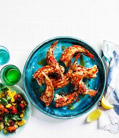 Grilled lobster tails with roast chilli butter and corn salad - Gourmet Traveller