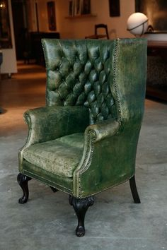 tufted English wing chair