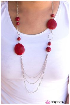 Smooth Sailing - Red $5.00  Product Description  Large, flat yellow beads combine with smaller smooth beads in a matching hue along a silver chain. Strands of silver chain drape across the bottom of the piece, adding additional texture to the design.  Sold as one individual necklace. Includes one pair of matching earrings.
