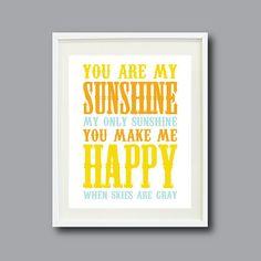 You Are My Sunshine Print - 8x10 - Orange, Yellow, Light Blue OR Choose Colors - Modern Wall Art for Nursery, Kids Room, Home Decor