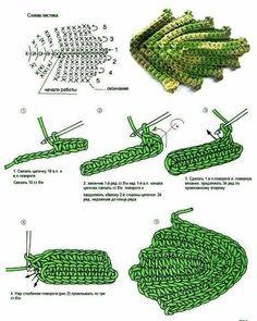 Best 12 Crochet Flower Patterns Part 1 – Beautiful Crochet Patterns and Knitting Patterns – SkillOfKing. Appliques Au Crochet, Crochet Leaf Patterns, Crochet Leaves, Crochet Diagram, Freeform Crochet, Crochet Motif, Irish Crochet, Crochet Designs, Crochet Doilies