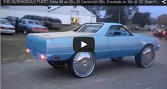 THE OUTRAGEOUS FLEET: Delta 88 on 32s, El Camino on 30s, Escalade on 30s @ SC State Homecoming - Big Rims - Custom Wheels