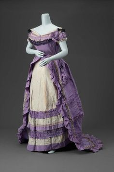 Dress Made Of Silk Plain Weave (Faille), Supplemntary Wrap Stripe Pattern And Lace, Made By Charles Fredrick Worth - English   c.1870   -   The Museum of Fine Arts, Boston