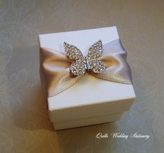 Sparkling Diamante Butterfly Wedding Favour Box by QuillsWeddingFavours on Etsy www.quillsweddingstationery.co.uk https://www.facebook.com/pages/Quills-Wedding-Stationery/278003989009997
