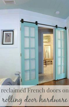 Aqua french/barn doors to help bring a little bit of the mermaid vibe into your home. Perfect for anyone who loves the sea and knows that the best life is the mermaid life.