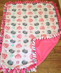 New Handmade Owl No Sew Tie Throw Fleece Blanket