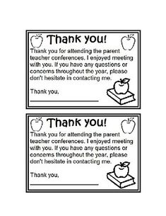 Free On A Page BWa Brief Thank You Note To Send To Parents After