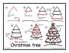How to Draw a Christmas tree printable with step by step directions