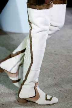Trend: mix between past and now, color mix, simulating buckle detail at the toe; round heel, super high boot____Marc Jacobs | Fall 2014 Ready-to-Wear Collection | Style.com