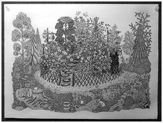 """""""The Garden"""" woodcut in progress by Tugboat Printshop. Will be beautiful in full color!"""