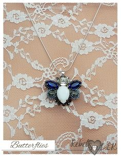 Bead embroidery butterfly pendant insect necklace by RebelSoulEK