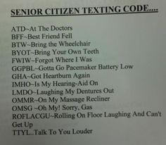 Senior texting.