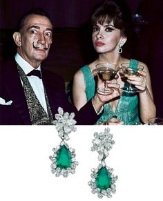 Emerald earrings £100,000-£170,000 'I wore these earrings to a dinner with Salvador Dalí. It was a very strange evening. Dalí had to defend me against another woman. She wanted to kill me! I was with a man whom she loved but, you know, these things happen. It was not my fault - you can't oblige people to do what you want. But she was very angry. Dalí tried to separate her from me so that I could get away in a taxi.