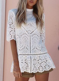 Casual Lace Hollow Out Hollow Out Splicing Halflong Sleeve Tops . Informations About Casual Lace H Blouse Styles, Blouse Designs, Half Sleeves, Types Of Sleeves, Bluse Outfit, Paisley Scarves, Collar Blouse, Blouses For Women, Ladies Blouses