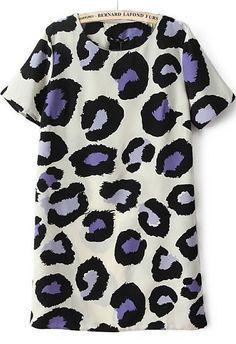 Beige Short Sleeve Leopard Print Dress - Sheinside.com