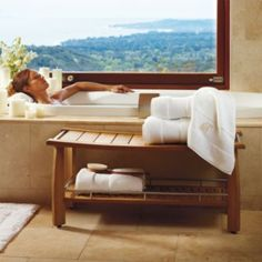 Estate-size Teak Shower Bench.  I'll take the bench (and the tub with this view!).