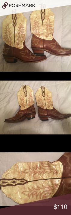 Corral iridescent cowboy boots 8 Barely worn authentic Cowboys boots. Girly detail in the shiny iridescent top! Size 8 can fit a wider calf if necessary Boulet Shoes Heeled Boots
