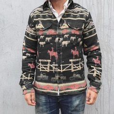 Cowboy Outfits, Denim And Supply, Jacket Buttons, Fashion Prints, Men's Fashion, Jackets Online, Sleeve Styles, Shirt Style, Military Jacket