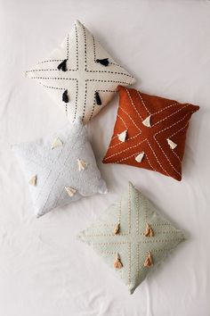 Shop Nora Stitched Tassel Throw Pillow at Urban Outfitters today. Back Support Pillow, Support Pillows, Cute Home Decor, Home Decor Items, Diy Pillows, Boho Pillows, Pillow Ideas, Small Pillows, Floor Pillows