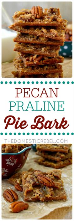 This Pecan Praline Pie Bark is a delightfully unique mix between gooey pecan pie and melt-in-your-mouth Southern praline candy. Easy to make, only 5 ingredients and makes for great gifts or snacks! Pecan Recipes, Candy Recipes, Cookie Recipes, Dessert Recipes, Pecan Pie Bark Recipe, Praline Recipe, Holiday Recipes, Dessert Bars, Christmas Recipes