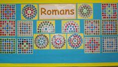 roman art projects for children School Displays, Classroom Displays, Teaching Displays, Maths Display, Romans For Kids, Romans Ks2, Mosaics For Kids, Mosaic Art Projects, Mosaic Ideas