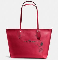 NWT COACH X PEANUTS SNOOPY CITY ZIP TOTE LIMITED EDITION CLASSIC RED NWT F37273 #Coach #TotesShoppers June 9 2016