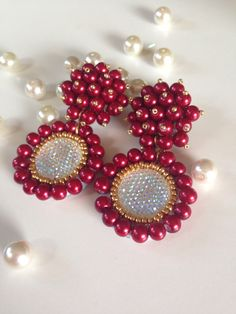 Perlas rojas aretes