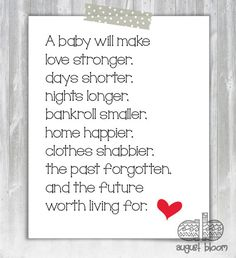 Printable Baby Shower Poem by AugustBloomDesigns