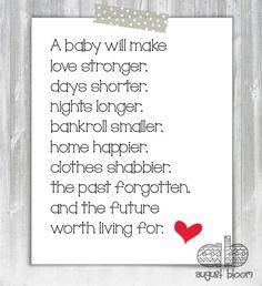 Printable Baby Shower Poem by AugustBloomDesigns