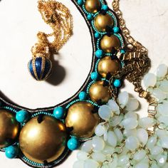 A sneak peek at some our new beauties for Spring Fashion! The statement necklace is from Ranjana Khan!