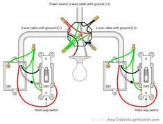 Single light between 3 way switches (power via light) | How to wire a light switch
