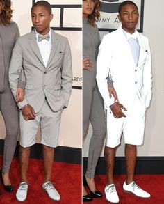 Pharrell's Adidas Suit at the 2015 Grammys made from reflective fabric, brilliant!