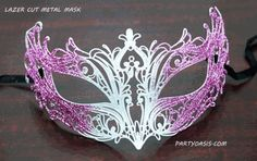 Masquerade Metal Mask White And Pink Luxury Laser Cut Metal Masquerade Masks Masquerade lazer cut mask is made of metal and is hand painted white with pink glitter accents. Mask comes with black ribbon ties. Venitian Mask, Butterfly Mask, Lazer Cut, Laser Cut Metal, Black Ribbon, Pink Glitter, Hand Painted, Luxury, Masquerade Masks