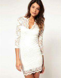 Mini Elegant Damen Lace Spitzen kleid Party Abendkleid Stretch V-Ausschnitt Spitzenkleid Weiss