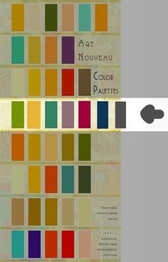 Authentic Art Nouveau Color Palettes, derived from vintage poster images. Compil… Authentic Art Nouveau Color Palettes, derived from vintage poster images. Compiled for my own purposes, but decided to share it, too! Colour Pallete, Colour Schemes, Color Palettes, Cores Art Deco, Pantone, Design Art Nouveau, Art Nouveau Interior, Art Nouveau Pattern, Art Deco Colors