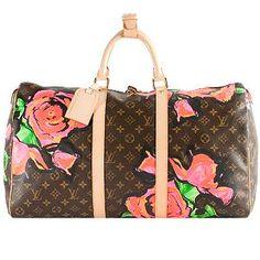 Louis Vuitton Limited Edition Monogram Roses Keepall 50 Duffel Bag<3