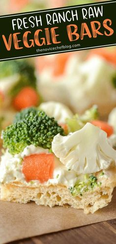 Try something new for Game Day! Ranch Raw Veggie Bars are easy to make and take a little work from you. With a crescent dough base and a layer of creamy ranch topped with broccoli, carrots, and cauliflower, one bite of this quick football appetizer will have you hooked!