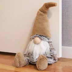 Prop the door open with this plush Taupe Gnome Door Stop. He's decked out in earth-toned winter clothes with a long white beard and nose poking out below a slouchy gnome cap. Christmas Gnome, Christmas Projects, Holiday Crafts, Gnome Door, Diy And Crafts, Arts And Crafts, Gnome Ornaments, All Things Christmas, Craft Gifts