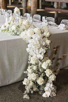 Modern White Wedding Style with Babies Breath, Phalaenopsis Orchids, Roses and Dried Flowering Filler flowers orchids White Roses Wedding, Wedding Reception Flowers, Floral Wedding, White Wedding Decorations, Modern Wedding Flowers, Wedding Bouquets, Table Decorations, White Flower Arrangements, Orchid Centerpieces
