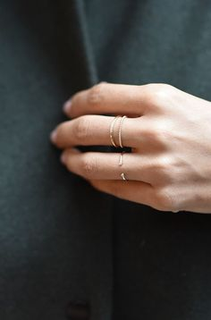 Mejuri stackable rings in 14k solid gold and diamonds