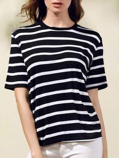 Round Neck Short Sleeve Stripes Print T Shirt #womensfashion #pinterestfashion #buy #fun#fashion