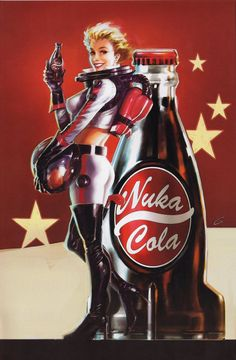 View an image titled 'Nuka Cola Pin-up Poster Art' in our Fallout 4 art gallery featuring official character designs, concept art, and promo pictures. Fallout Art, Fallout Nuka Cola, Fallout Posters, Gaming Posters, Pin Up Posters, Fallout Tattoo, Art Posters, Fallout Perks, Fallout Theme