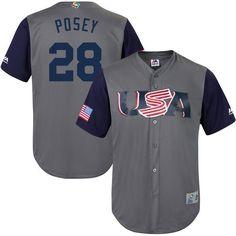 Buster Posey USA Baseball Majestic 2017 World Baseball Classic Replica Jersey - Gray - $149.99