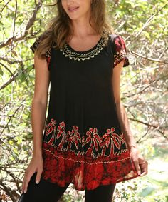 Take a look at the Ananda's Collection Black & Red Embroidered Angel-Sleeve Top on #zulily today!