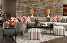 Ideas For Apartment Living Room Grey Ottomans Grey And Orange Living Room, Living Room Grey, Living Room Colors, Living Room Designs, Dallas Furniture Stores, Deco Restaurant, Contemporary Bedroom, Kitchen Contemporary, Contemporary Architecture