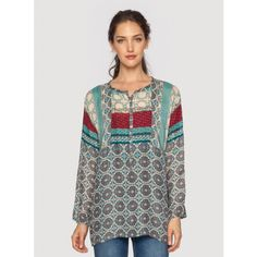 Tribal Raglan Tunic Make a statement in the Tribal Raglan Tunic. This cheerful printed top combines fresh blue, grey, yellow, and red hues in a unique geometric print that pairs perfectly with all neutrals. Layer the Tribal Raglan Tunic over your favorite maxi dress and finish your look with long layered necklaces. %0A%0A- Rayon%0A- Scoop Neck, Long Sleeves, and Henley Front %0A- Signature Print%0A- Machine Wash Cold, Tumble Dry Low