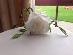 White rose wedding cake - top tier