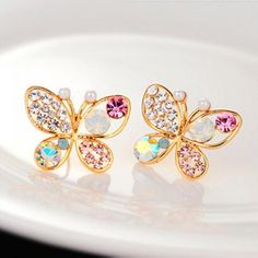 Prezzi e Sconti: #Pair of rhinestone faux pearl butterfly  ad Euro 2.23 in #Jewelry #Moda