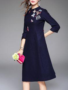 Shop Midi Dresses - 3/4 Sleeve Floral Vintage Midi Dress online. Discover unique designers fashion at StyleWe.com.